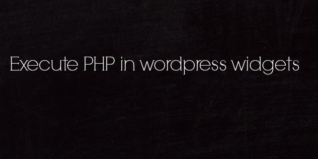 Execute PHP Code in WordPress Widget by Anil Kumar Panigrahi